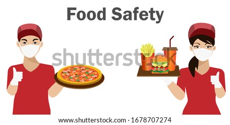 COVID-19 Safety food concept. Waiter and waitress wearing hygiene hands gloved and face mask,holding tray of fast foods. Idea for safety fast food during COVID-19 outbreak, quarantine and prevention. #1678707274