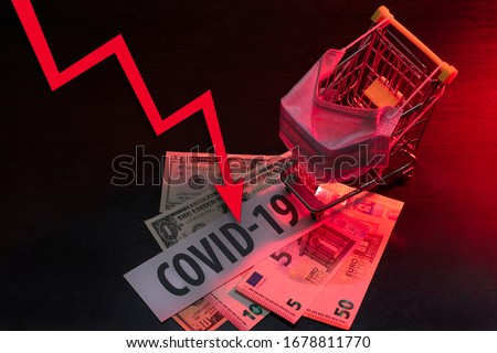 The impact of coronavirus on the economy. Drop in consumption due to the COVID-19 epidemic. Royalty-Free Stock Photo #1678811770