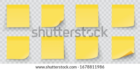 Realystic set stick note isolated on transparent background. Yellow color. Post it notes collection with shadow - stock vector. #1678811986