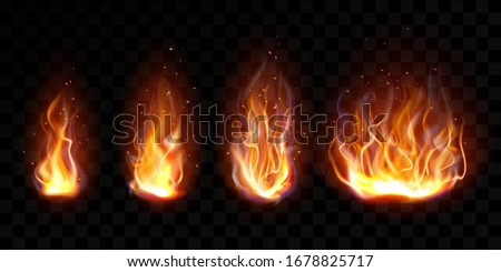 Realistic fire, torch flame set isolated on transparent background. Burning campfire or candle blaze effect, glow orange and yellow shining flare design elements  illustration, icon, clip art