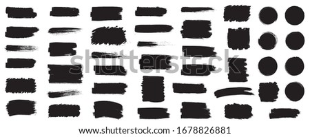 Black set paint, ink brush, brush strokes, brushes, lines, frames, box, grungy. Grungy brushes collection. Brush stroke paint boxes on white background - stock vector. #1678826881