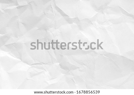White crumpled paper background, texture old for web design screensavers. Template for various purposes or creating packaging. Royalty-Free Stock Photo #1678856539