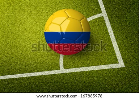 Concept for Brazil 2014 football championship. A soccer ball on green field with Colombia flag on it. #167885978