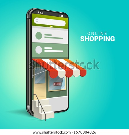 3D Online Shopping on Websites or Mobile Applications Concepts of Vector Marketing and Digital Marketing. with isometric smartphone design and perspective illustration. for online store promotion. #1678884826