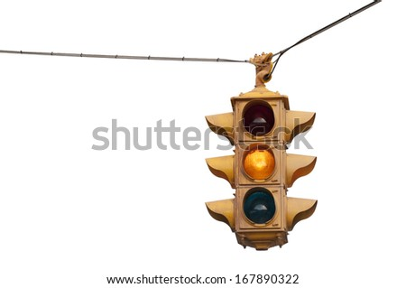 Vintage traffic light flashing yellow caution isolated on a white background #167890322