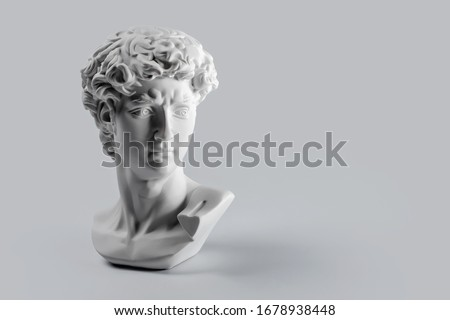 Gypsum statue of David's head. Michelangelo's David statue plaster copy on grey background with copyspace for text. Ancient greek sculpture, statue of hero #1678938448