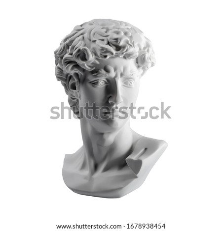 Gypsum statue of David's head. Michelangelo's David statue plaster copy isolated on white background. Ancient greek sculpture, statue of hero #1678938454