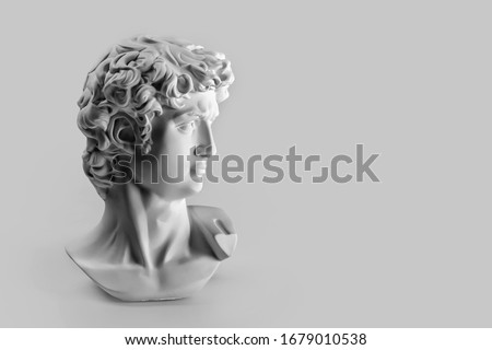 Gypsum statue of David's head. Michelangelo's David statue plaster copy on grey background with copyspace for text. Ancient greek sculpture, statue of hero #1679010538