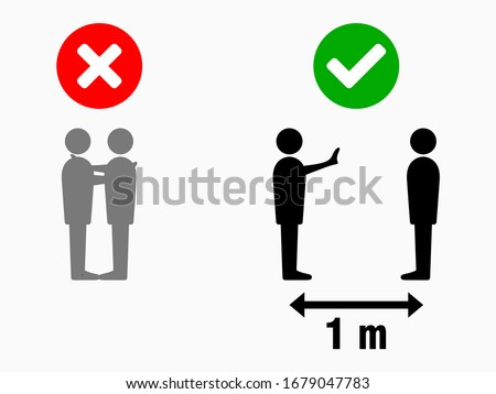 Social Distancing Keep Your Distance 1 Meter No Hugs Greeting Infographic. Vector Image. #1679047783
