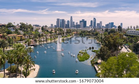 Aerial view of Echo Park with downtown Los Angeles skyline Royalty-Free Stock Photo #1679073004