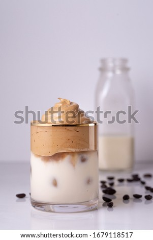 Iced Dalgona Coffee, a trendy fluffy creamy whipped coffee #1679118517
