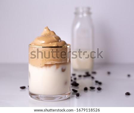 Iced Dalgona Coffee, a trendy fluffy creamy whipped coffee #1679118526