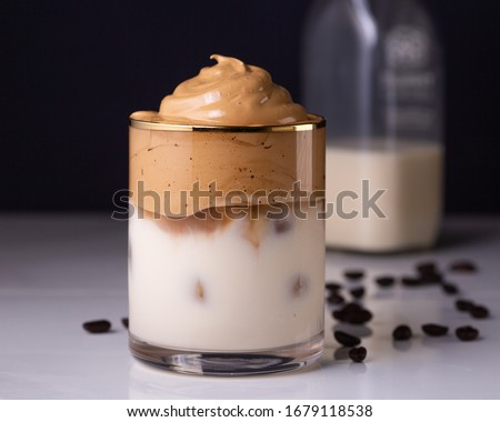 Iced Dalgona Coffee, a trendy fluffy creamy whipped coffee #1679118538