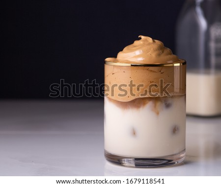 Iced Dalgona Coffee, a trendy fluffy creamy whipped coffee #1679118541