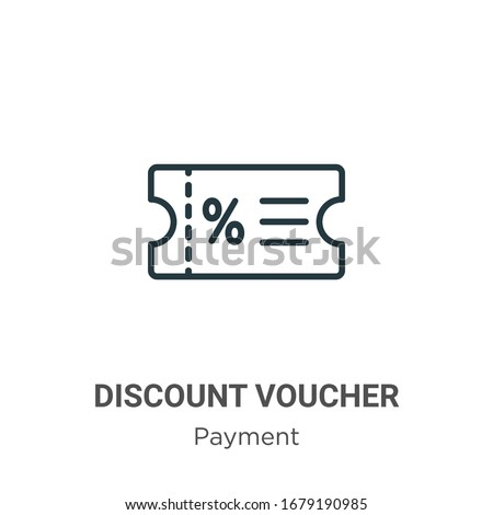 Discount voucher outline vector icon. Thin line black discount voucher icon, flat vector simple element illustration from editable payment methods concept isolated stroke on white background #1679190985