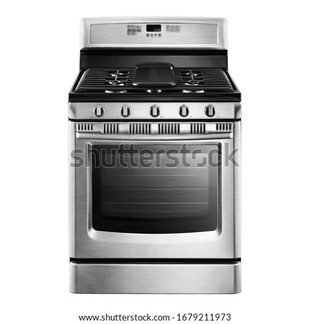 Single Gas Range Cooker Isolated. Stainless Steel Kitchen Stove Front View. Modern Domestic Major Appliances. Steam Fuel Range with Convection Oven & Warming Drawer and Four Burner Cooktop Gas Hob #1679211973