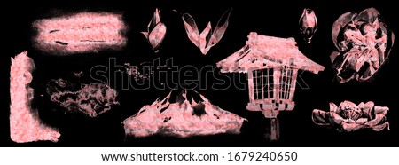 Pink gold dust effect set on black background. Cherry blossoms, leaves, japanese lantern, mount Fuji, backgrounds ans splashes