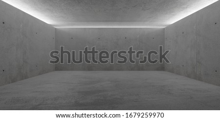 Abstract empty, modern concrete room with indirect lit ceiling and rough floor - industrial interior background template, 3D illustration #1679259970