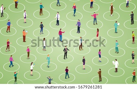 social distancing concept for preventing coronavirus covid-19 with people keeping a circular distance boundary in modern isometric style #1679261281