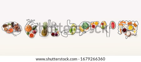 Best menu for healthy body. Collage with outlines of human internal organs and wholesome foods on white background, panorama Royalty-Free Stock Photo #1679266360