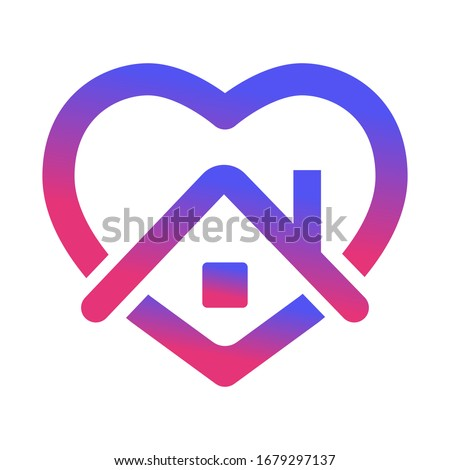 stay home, heart, home sticker symbol vector #1679297137