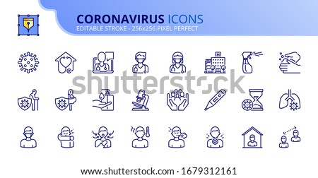 Outline icons about  Coronavirus prevention and symptoms. Health care.  Editable stroke. Vector - 256x256 pixel perfect. #1679312161