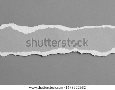Ripped paper on gray background, space for advertising copy. Royalty-Free Stock Photo #1679322682