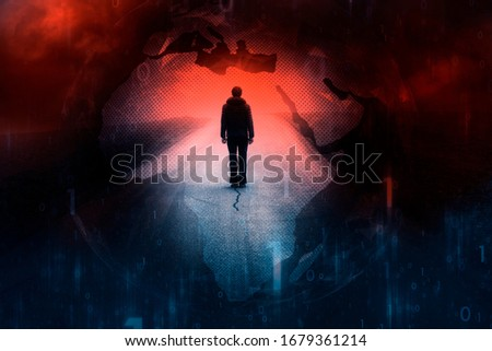 Concept man standing alone on road with earth globe illustration background. #1679361214