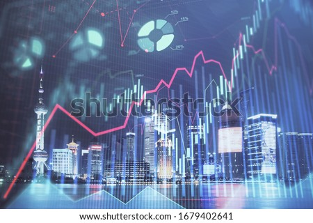 Financial graph on night city scape with tall buildings background double exposure. Analysis concept. #1679402641