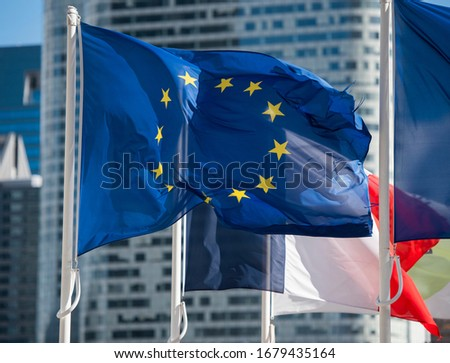 European Union flag in detail Royalty-Free Stock Photo #1679435164