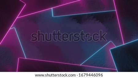 Background composition of rectangular shapes with neon light edges, modern design with free text space, top view, blue pink hues, for streaming, video, banner, advertising, flyer, 3D rendering
