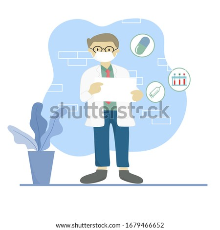 Portrait of a male doctor with lab coat in his office holding a white paper. Doctor shows an empty board to write a personal message or advice for treating patients. Vector illustration. #1679466652