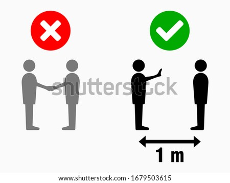 Social Distancing 1 Meter No Handshake Sign. Vector Image. #1679503615
