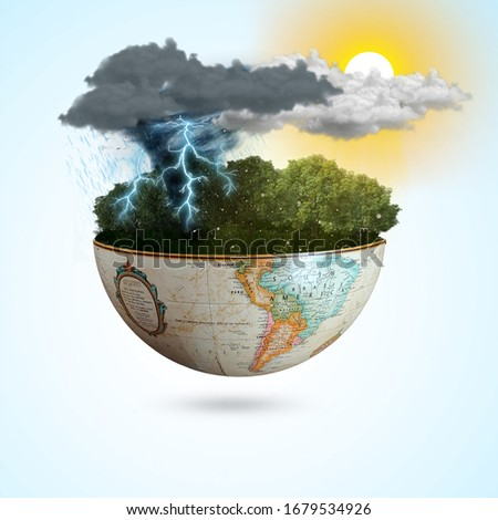 Meteorological day, World Meteorological day, March 23. Greeting card, Icon in the linear style, meteorology presentation, Windy day phenomenon, tree moving from the wind on Blue sky & sunlight Royalty-Free Stock Photo #1679534926