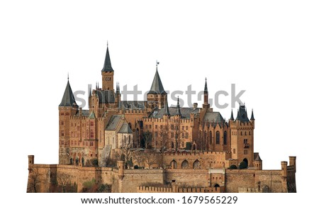 Hohenzollern Castle (Germany) isolated on white background.