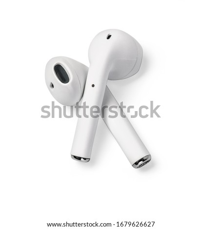White headphones wireless earphones isolated on white with clipping path Royalty-Free Stock Photo #1679626627