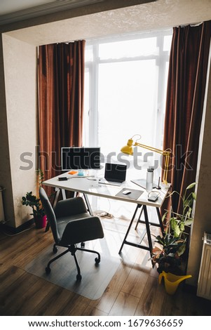 view of home office. isolated work at home. no people Royalty-Free Stock Photo #1679636659