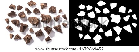 Broken chocolate pieces isolated, top view #1679669452