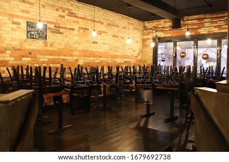 Empty restaurant in Toronto during coronavirus covid-19 pandemic, Canada #1679692738