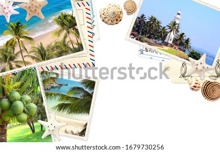 Travel concept. Vintage photos, retro postcard, label, starfish and shell. On white background. Mock up template. Copy space for text