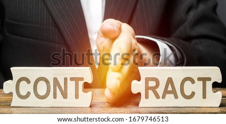 Businessman employer breaks a contract. Deal cancel. Violation of conditions and rules. Anticipatory repudiation act. Termination of cooperation, disagreement refusal to renew agreement. Force Majeure #1679746513