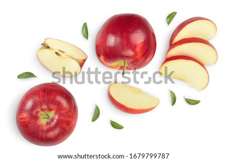 Red apple with half isolated on white background with clipping path and full depth of field. Top view. Flat lay. Set or collection #1679799787