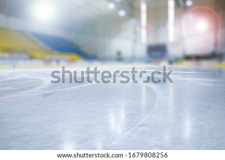 EMPTY ICE HOCKEY STADIUM BACKGROUND, SPORT ARENA FIELD WITH ICY FLOOR
