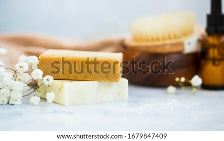 Natural handmade soap bars with flowers, spa organic soap Royalty-Free Stock Photo #1679847409