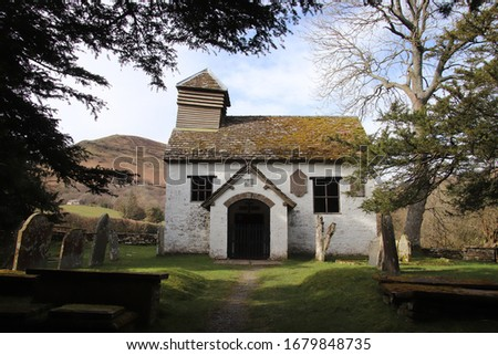 St Mary's church Capel-y-ffin, built in 1762 nestling in the Vale of Ewyas in the Black Mountains in the Welsh borders #1679848735