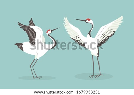 Red crowned crane flaps wings cartoon vector illustration. Mating dance of birds Royalty-Free Stock Photo #1679933251