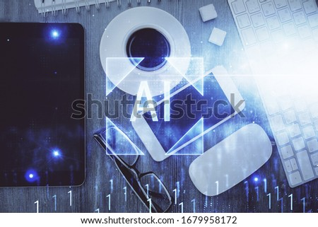 Multi exposure of technology theme drawing over work table desktop. Top view. Global data analysis concept. #1679958172