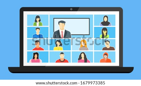 Online Class. Stay School Learn Study from home via Teleconference Web Video Conference Call During Coronavirus COVID-19 Pandemic Outbreak Display on Screen. Emergency Shcool, College Test or Course Royalty-Free Stock Photo #1679973385