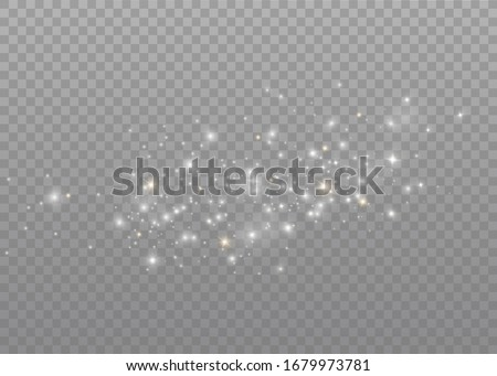 The dust sparks and golden stars shine with special light. Vector sparkles on a transparent background. Christmas light effect. Sparkling magical dust particles. #1679973781
