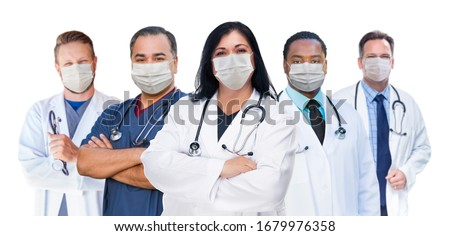 Variety of Medical Healthcare Workers Wearing Medical Face Masks Amidst the Coronavirus Pandemic. Royalty-Free Stock Photo #1679976358